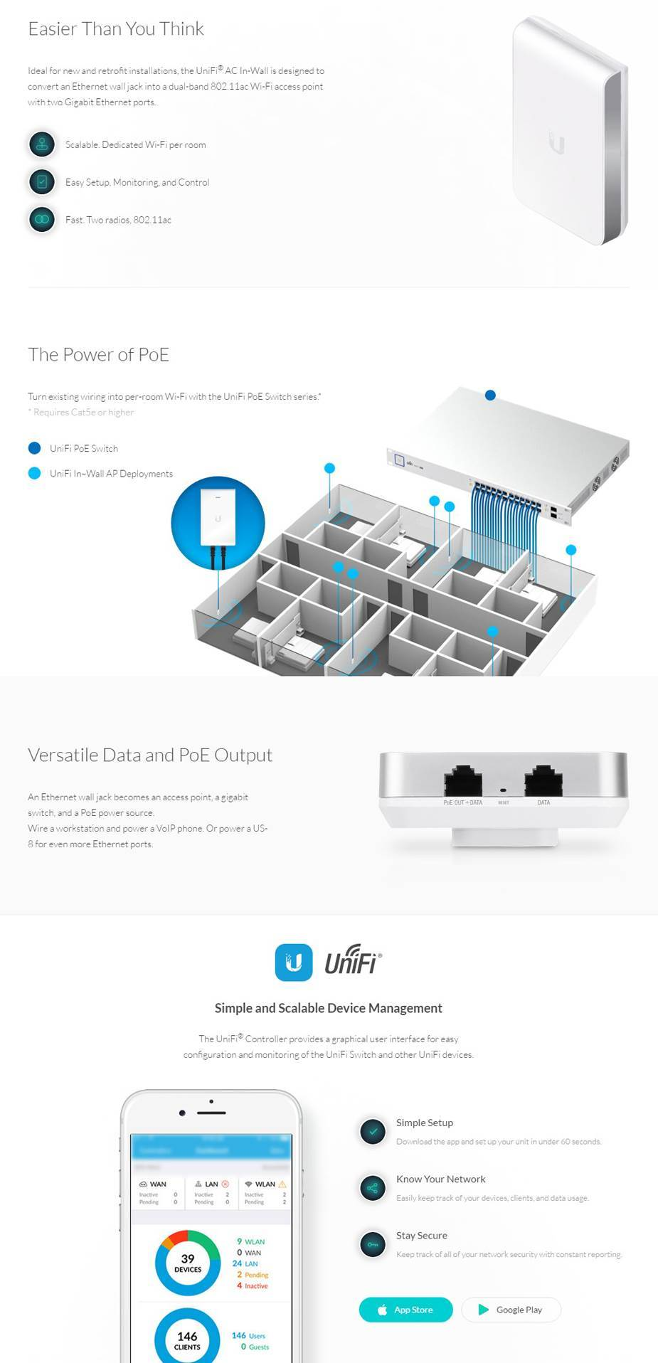 medium resolution of ubiquiti unifi 802 11ac in wall access point w ethernet port 5 pack uap