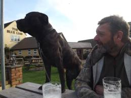 Me and my Dad having a pint and 'checking' the 'view'...