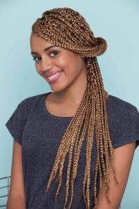 Coloured braids: 24 box braids & plaited styles with