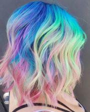 neon rainbow hair kicking