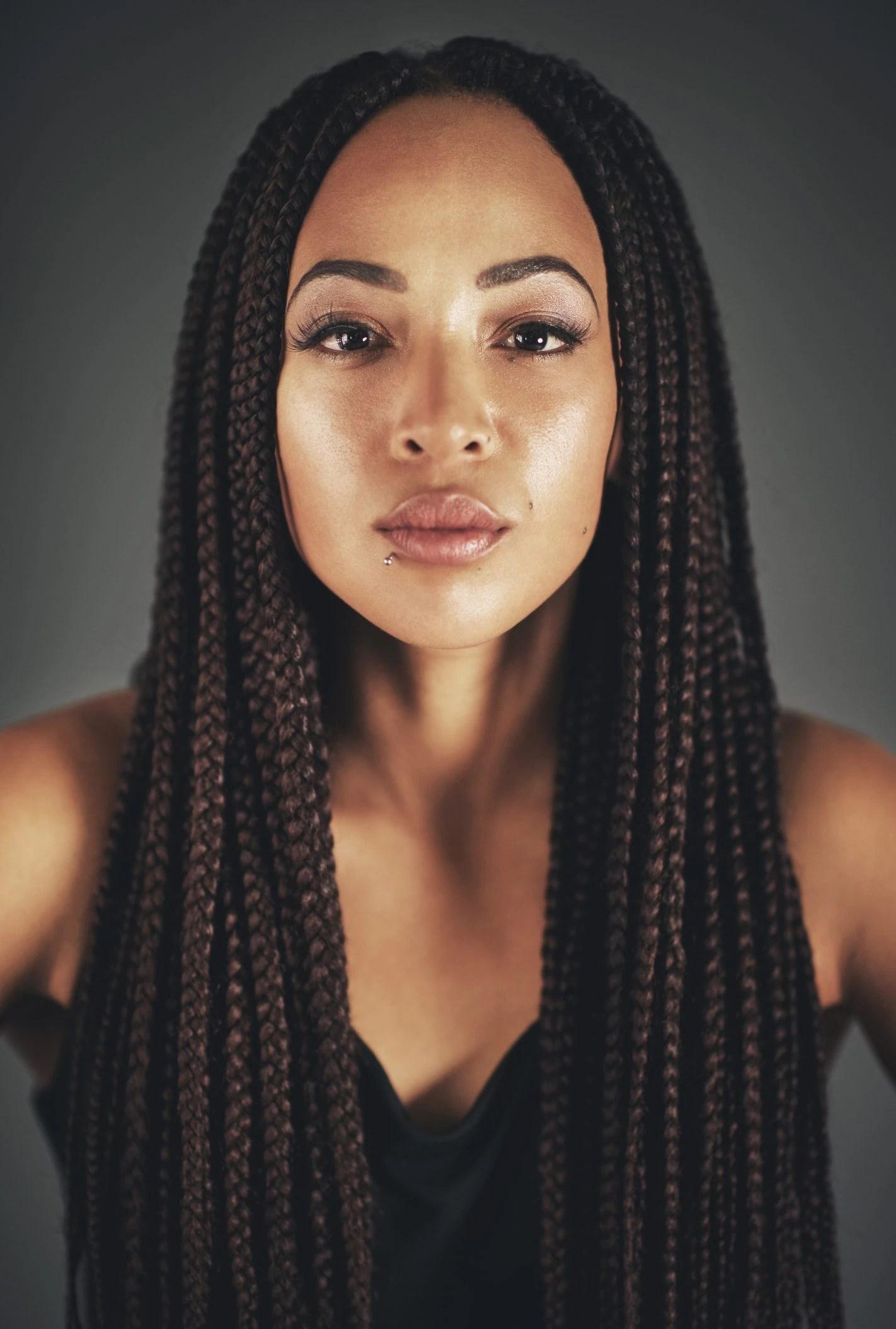 black hairstyles braids with hair down