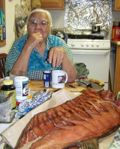 Grandma Rose Ambrose enjoys a traditional Native meal in Huslia