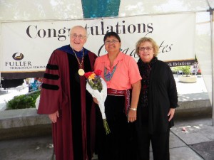 Marlene Watson poses at her 2012 graduation from the Fuller Theological Seminary with the then president, Richard J. Mouw, and his wife, Phyllis. Courtesy photo