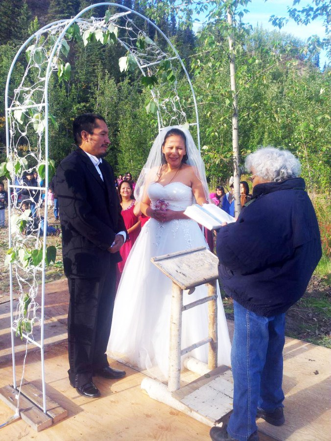 Lydia Bergman officiated the wedding of Russ and Michelle in Old Alatna. Photo courtesy of Michelle Sam