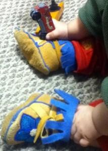 Tanya Yatlin of Huslia sewed these booties for her nephew. She beaded them on moose skin. Photo by Tanya Yatlin