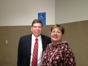 Sharon has interviewed many politicians over the years, including Senator Mark Begich at the 2013 AFN Convention. Photo by Sharon Hildebrand