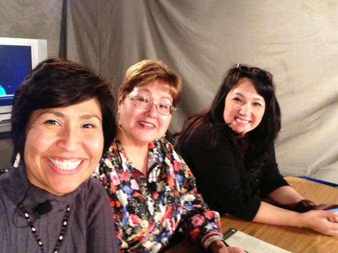 Sharon Hildebrand, Sharon McConnell and Anna Sattler were broadcasters at the Alaska Federation of Natives Convention in Fairbanks in October 2013. Photo by Sharon Hildebrand