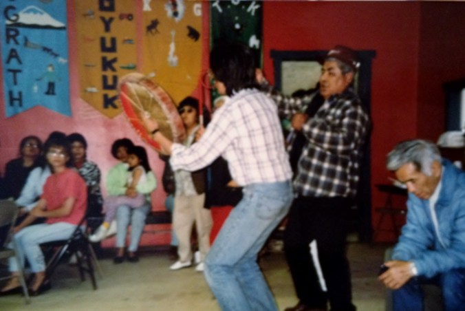 Attendees dance in Tanacross during the Denakkanaaga Conference in 1991. Photo by Angela Gonzalez
