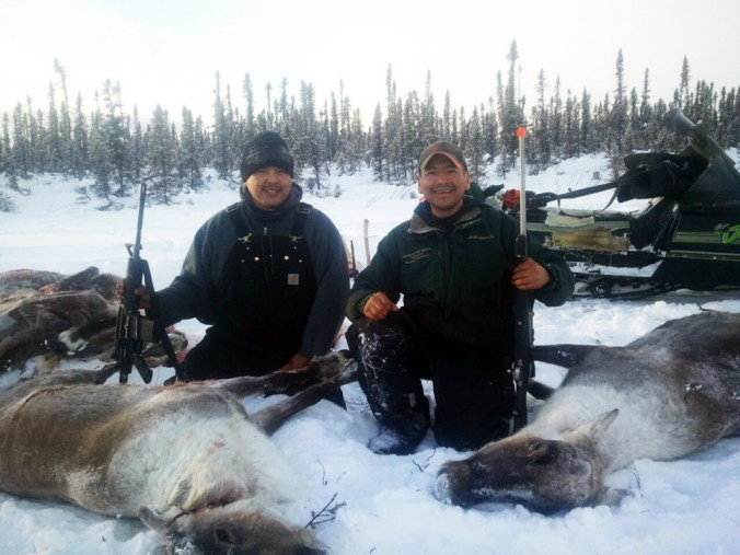 "Todd Bergman and PJ Simon on a caribou hunt. PJ says, ""Our lifestyle in Allakaket is very traditional, we love our traditional foods. "" Courtesy photo"