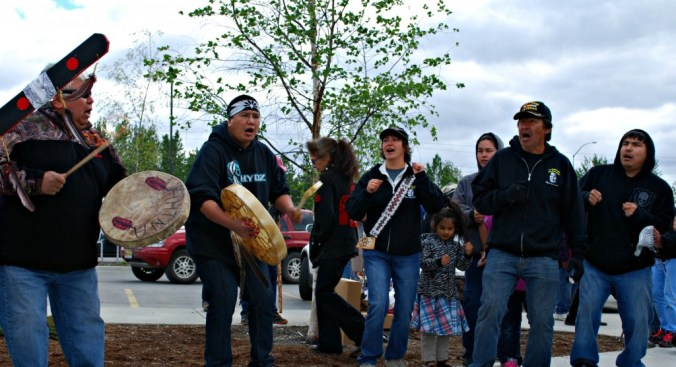 Samuel Johns performs at the Walk for Tsucde with the Ahtna Heritage Dancers. Photo by Angela Gonzalez