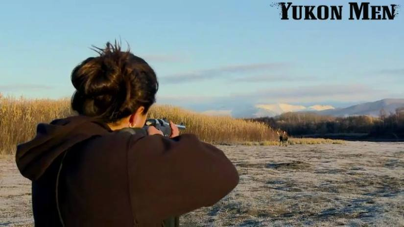 Courtney Agnes aims at a moose outside of Tanana. Photo courtesy of Yukon Men/Discovery TV