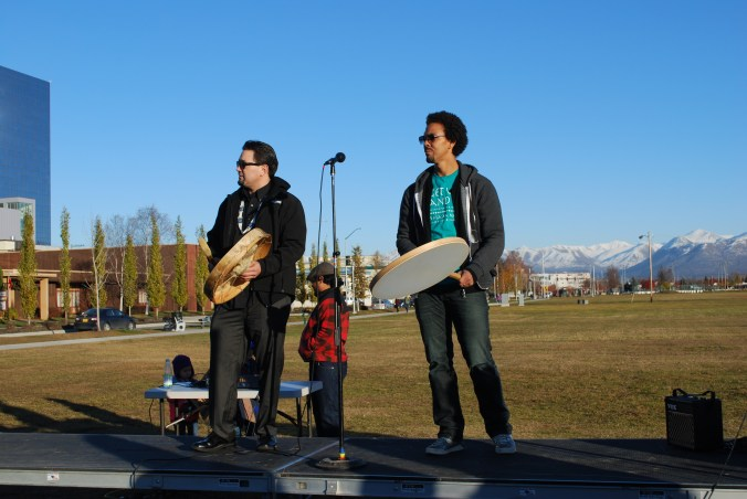 Supporters sang and drummed in for Alaska Native hunting and fishing rights gathered for the Hunt Fish Share and Vote Rally in Anchorage on Oct. 22. Photo by Angela Gonzalez