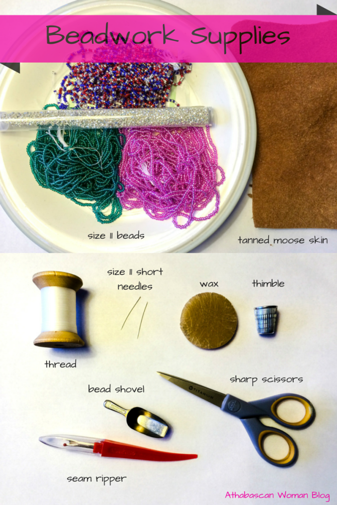 Supplies list for making beaded moose skin slipper tops. Photos by Angela Gonzalez