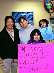 My daughters and I welcomed Wanda Solomon back to Alaska in 2006 when she returned from her deployment in Afghanistan. Photo by Sonia Vent