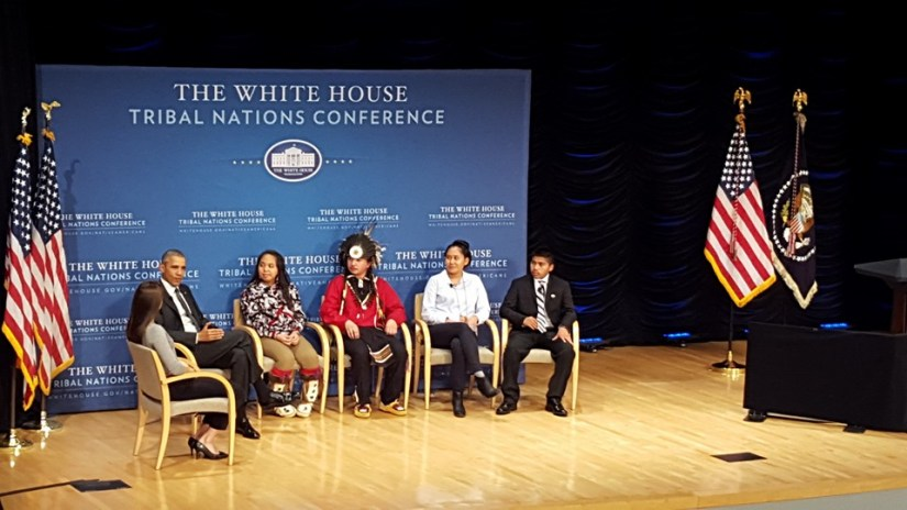 President Barack Obama speaks with 4 Native youth -- Tatiana Ticknor (Yup'ik, Tlingit, Dena'ina), Brayden White (St. Regis Mohawk), Blossom Johnson (Navajo Nation), and Philip Douglas (Seminole Nation of Oklahoma) about issues including higher education, poverty and resources, health care, and racism in schools. The conversation is being moderated by Jude Schimmel (Confederated Tribes of the Umatilla Indian Reservation). Photo courtesy of CNAY