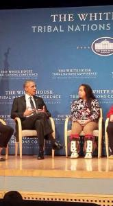 Tatiana Ticknor and other CNAY youth sat down with President Obama at the 2015 Tribal Nations Conference. Courtesy of Jean Sam-Kiunya