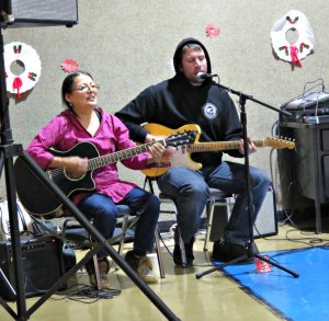 Josephine Malemute and Mike Mickelson performing at the Nikolai Sobriety Celebration. Photo by Amy Modig