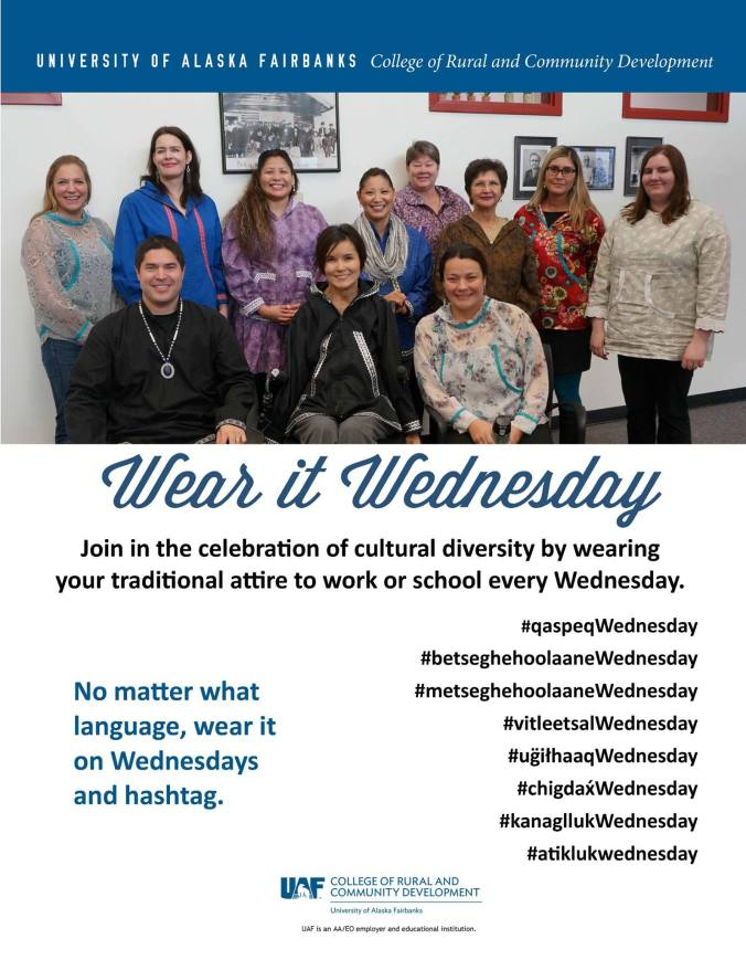 Staff at the University of Alaska Fairbanks College of Rural and Community Development wear their kuspuks on Wednesdays.