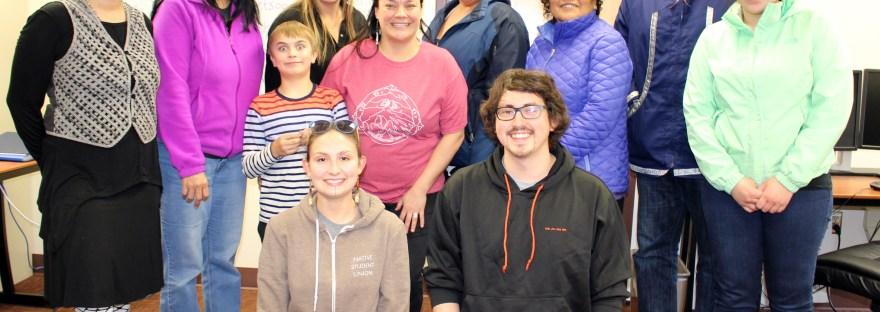 Denaakk'e language class attendees in Fairbanks. Photo by Marjorie Kunaq Tahbone