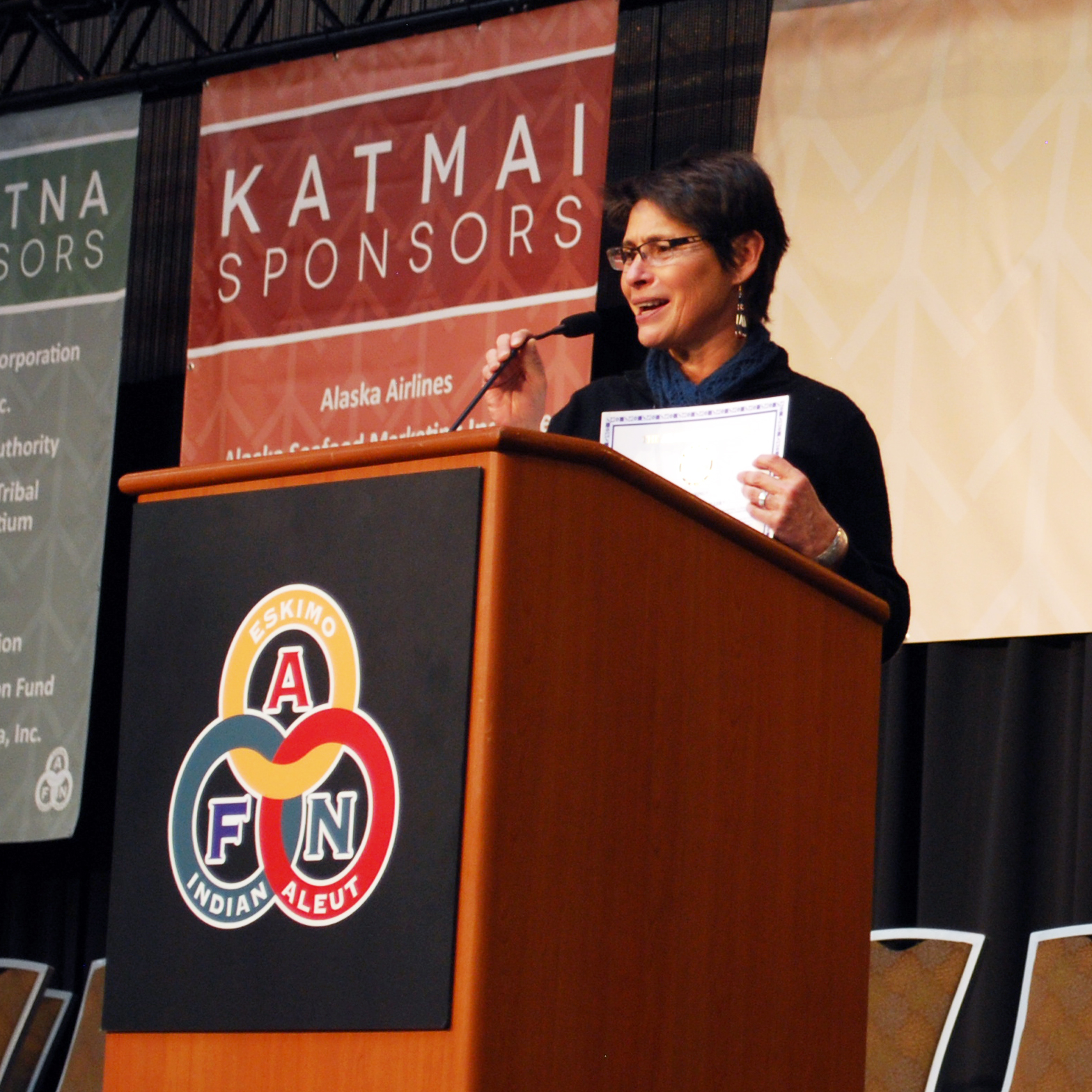 Heather Kendall-Miller received an award from the Alaska Federation of Natives in 2014. Photo by Angela Gonzalez