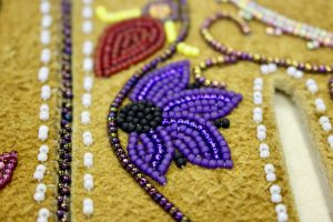 A close up view of Brenda Mahan's beadwork. Photo by Angela Gonzalez