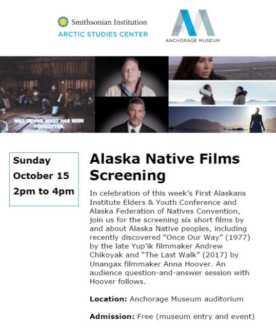 Alaska Native Films Screening 10-15-17