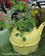 Vintage Cast Iron Tea Kettle spray painted with flowers