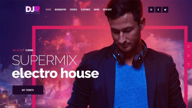 DJ Rainflow - WordPress theme for musicians