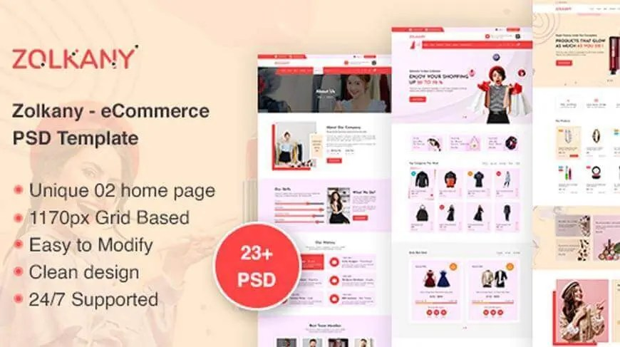 Zolkany - PSD ( Photoshop format ) Template / eCommerce mockup