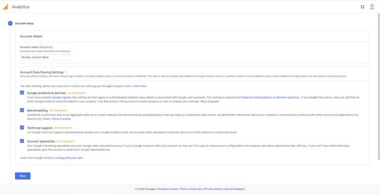Personalização das configurações do Google Analytics.