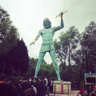 """A fearsome statue of Zeus in the """"Ancient Greece"""" part of the park"""