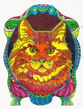 """Lineart by Robyn Henoch. From the coloring book """"Inkspirations for Cat Lovers"""""""