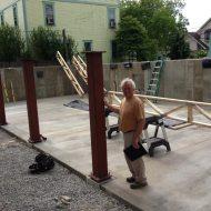 steel-posts-in-garage-installed