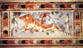The Minoan site of Knossos, indicating a sport or ritual of bull leaping the red-skinned figure is a man and the two light-skinned figures are women.