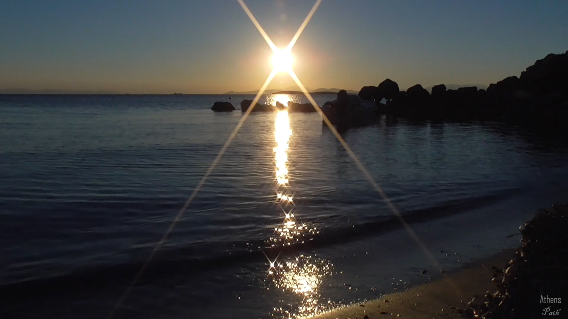 Sunset next to the sea shore