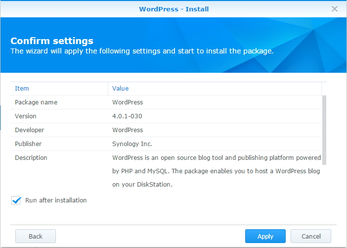 Wordpress - Confirmation screen