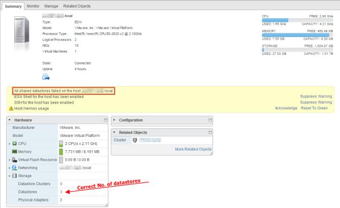 Shared Datastore Failure Error