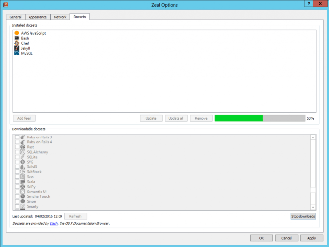 Zeal - Downloading Docsets