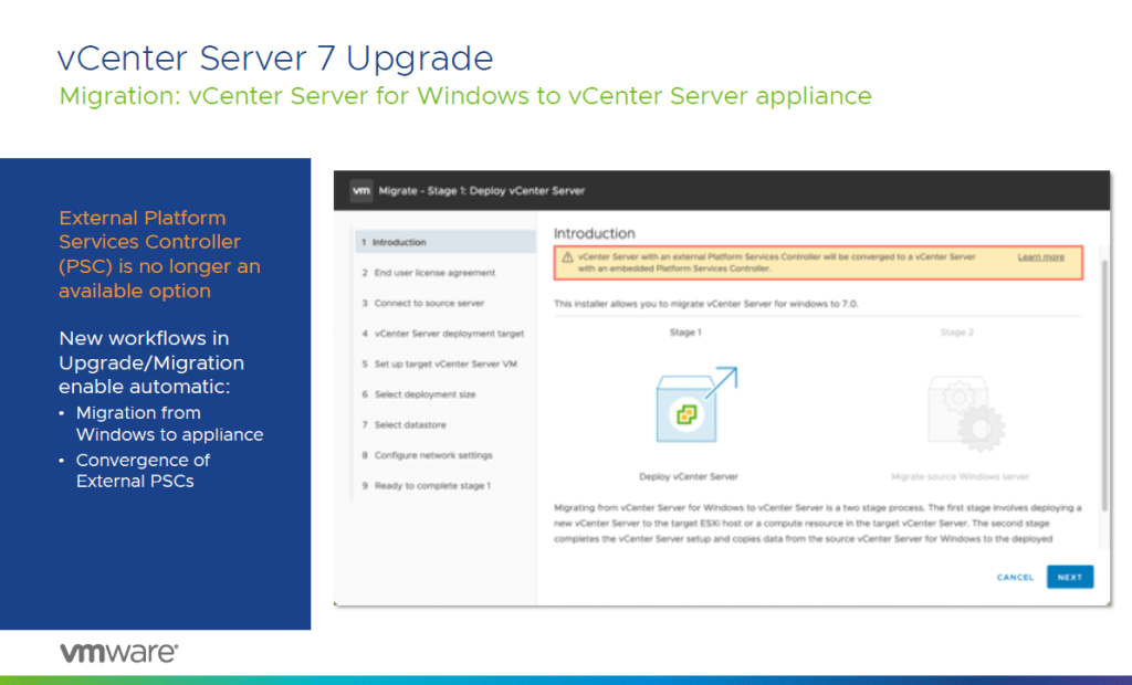 vCenter Server 7 Upgrade PSC