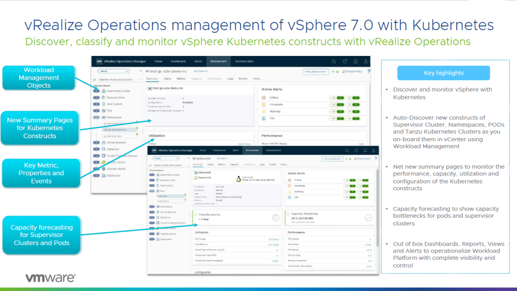 vRealize Operations for Kubernetes Dashboard