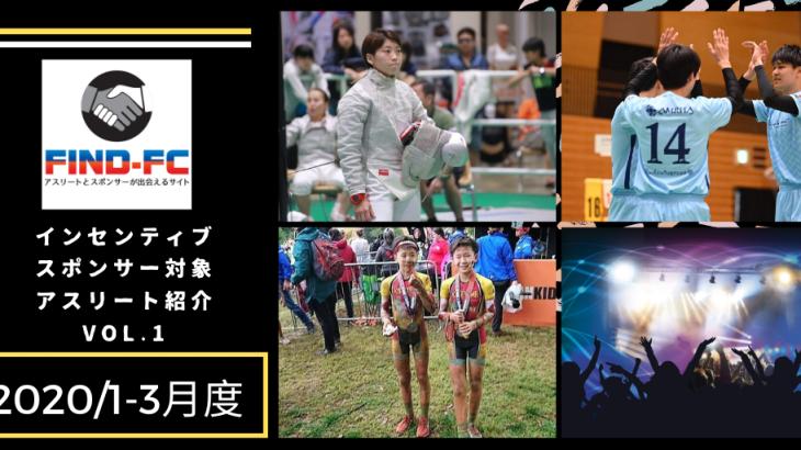 Find-FC2020年1-3月度インセンティブスポンサー候補アスリート紹介VOL.1