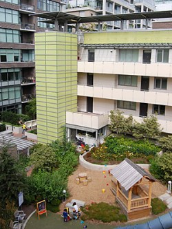 Athlete's Village Co-op courtyard and playground