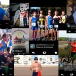Collage of images of Luis M Torres, older athlete in Spain