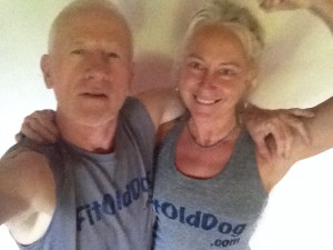 FitOldDog with Rebecca, his body movement teacher.