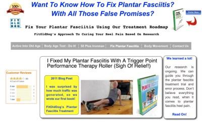 FitOldDog's plantar fasciitis landing page at fitolddog.com