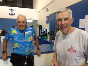 Photo of Kurt Kahl (left) and Bob Scott, both great athletes, even older than FitOldDog, providing him with much needed inspiration to keep going with this great sport. At the 2015 Eagleman Half Ironman Race.