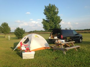 FitOlddog's Campsite on the way to the OBX 2015 Half Ironman race.