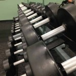 Weights in weight room.