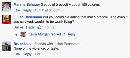 Comments on broccoli for animal rights!