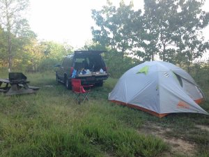 2016 Louisville Ironman, FitOldDog camping along the way.